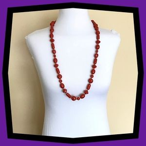 Monet Rust Red Lucite Bead Necklace